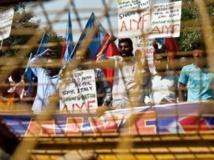 Manifestations de colère et de protestation devant l'ambassade d'Italie à New Delhi le 13 Mars 2013.