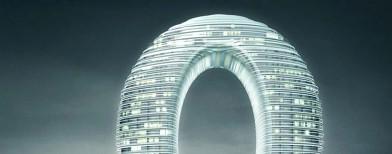 Sheraton Hotel, un hôtel en forme d'anneau posé au-dessus de l'eau