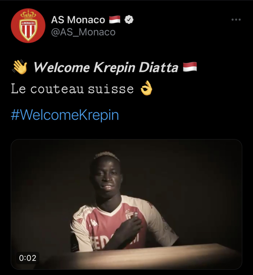 Officiel ! Monaco annonce la signature de son «Couteau Suisse» Krepin Diatta