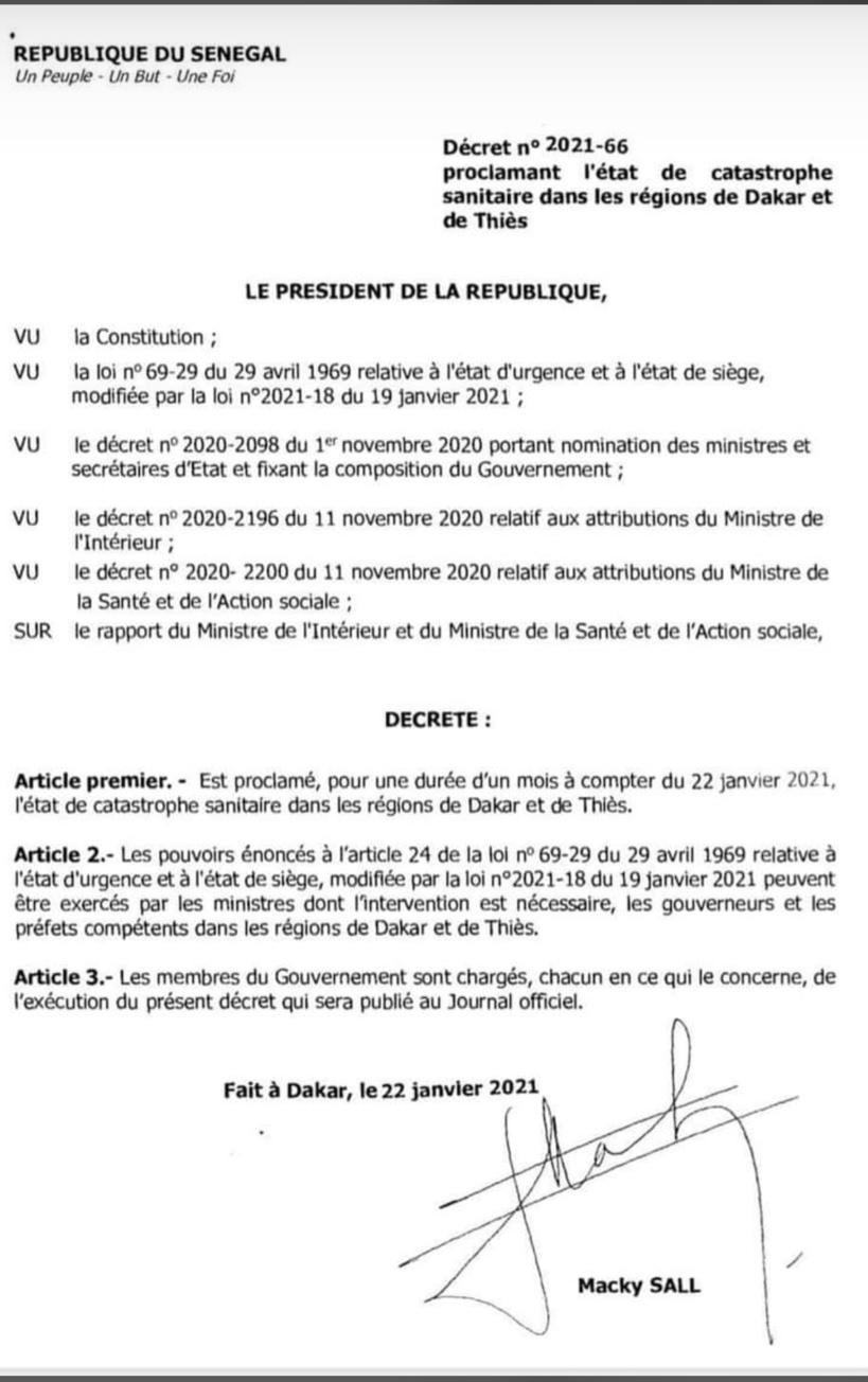 La Présidence sort le décret qui proroge le couvre-feu à Dakar et Thiès pour un mois