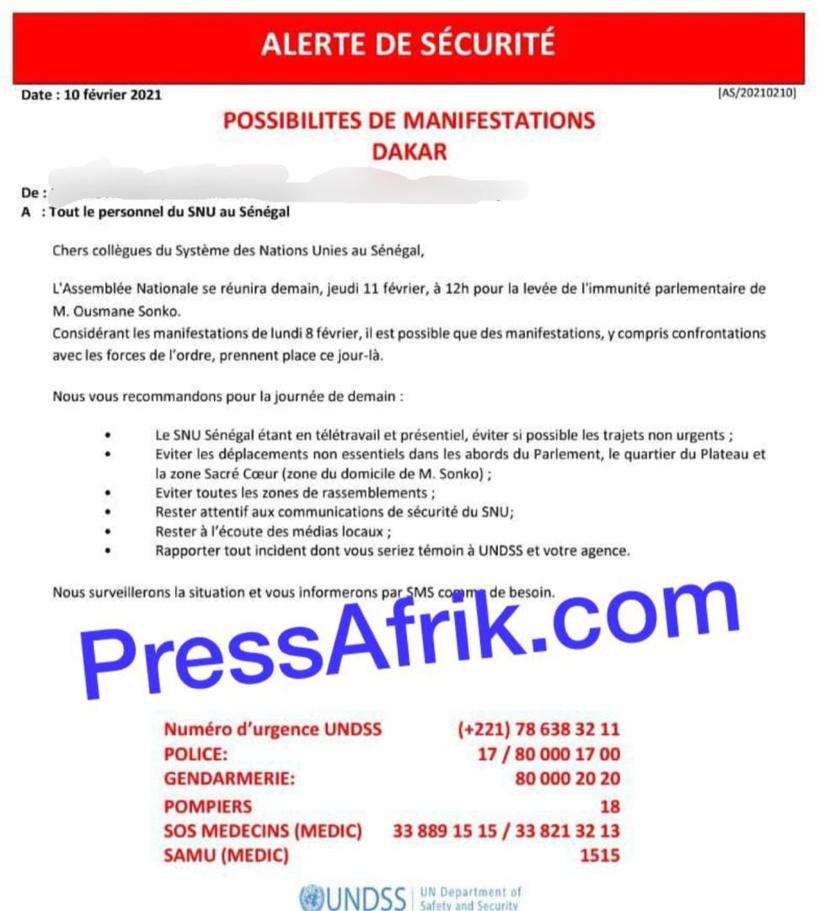 Le système des Nations-Unies et l'Ambassade de France alertent sur d'éventuelles manifs des «pro Sonko»