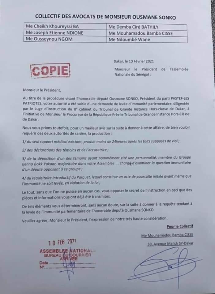Levée immunité parlementaire: les mises en garde des avocats de Sonko à Niasse