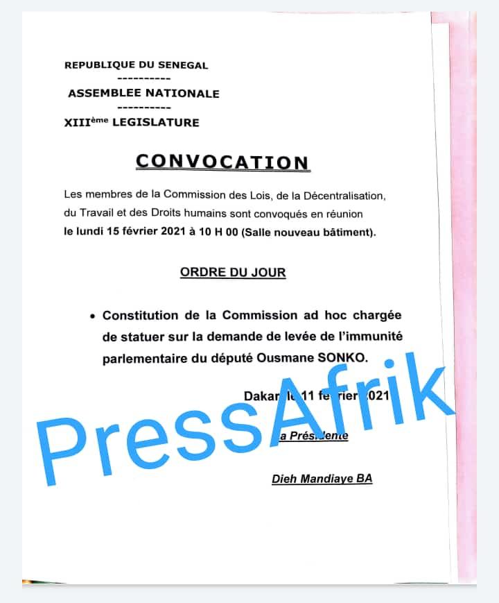 Assemblée nationale: le bureau donne suite à la requête du ministère de la Justice et convoque lundi la Commission des lois