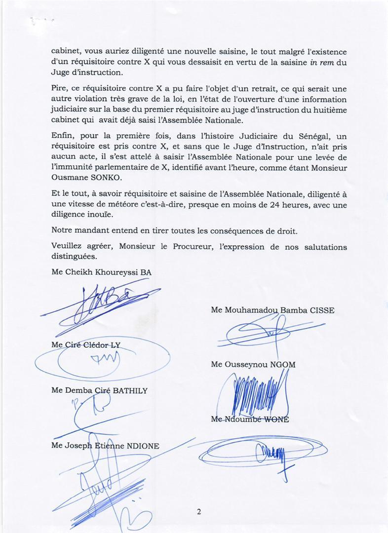 Lettre au Procureur : les avocats d'Ousmane Sonko étalent les «incongruités et vices de procédures» du dossier (Document)