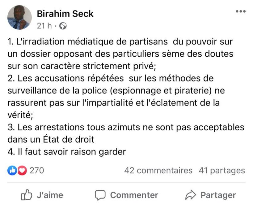 Birahim Seck sur l'affaire Sonko : « L'irradiation médiatique des gens du pouvoir sème le doute… »