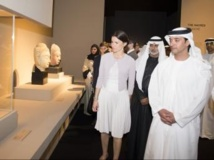 Inauguration de l'exposition «Naissance d'un Musée», dimanche 21 avril en présence du cheikh Hazza Bin Zayed al-Nahyan et d'Aurélie Filipetti, ministre française de la Culture.