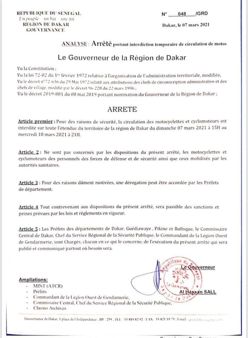 Le gouverneur de Dakar interdit la circulation des deux roues jusqu'au 10 mars