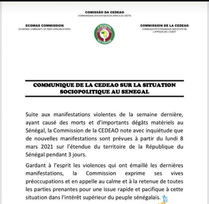 La CEDEAO exprime ses préoccupations suite à l'annonce de nouvelles manifestations