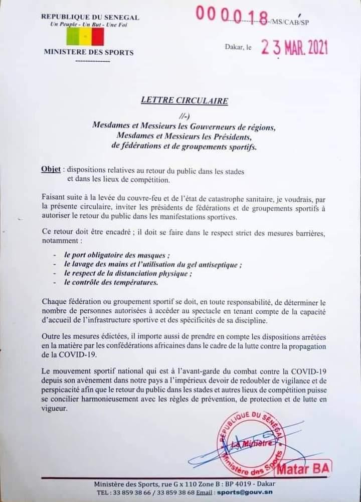 Sénégal: le public autorisé à entrer dans les stades pour suivre les compétitions (Document)