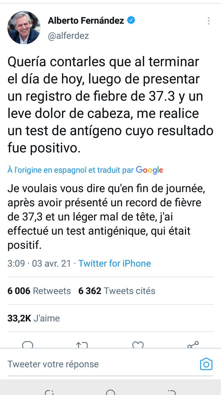 Le Président argentin a été testé positif au coronavirus