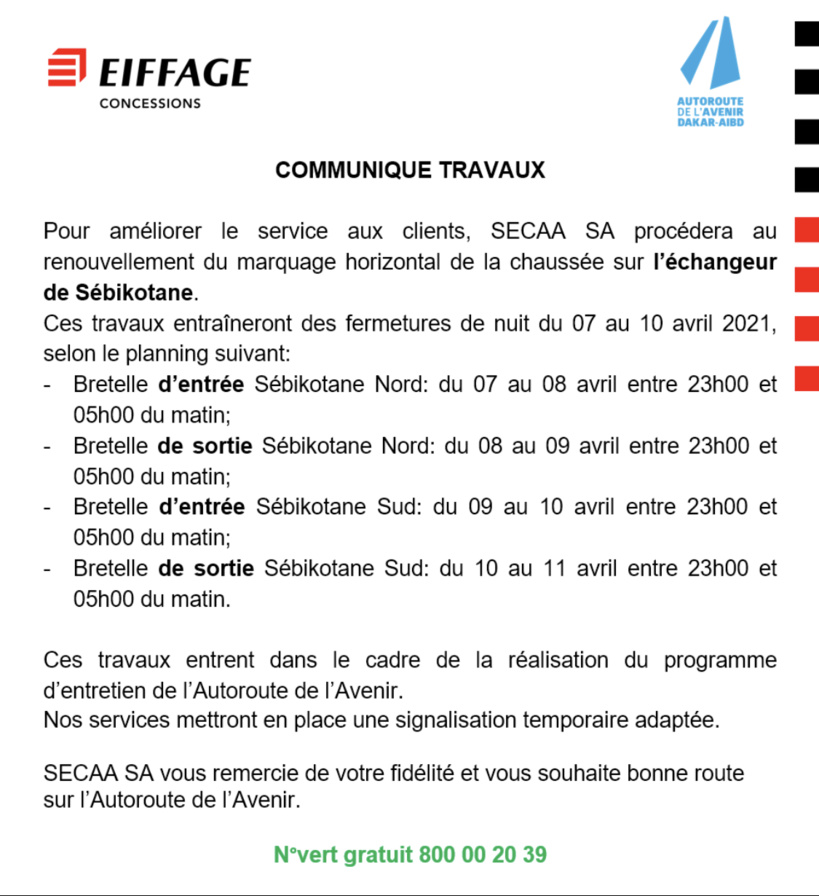 Travaux sur l'Échangeur de Sébikotane: les horaires de fermeture de nuit communiqués par la SECAA SA