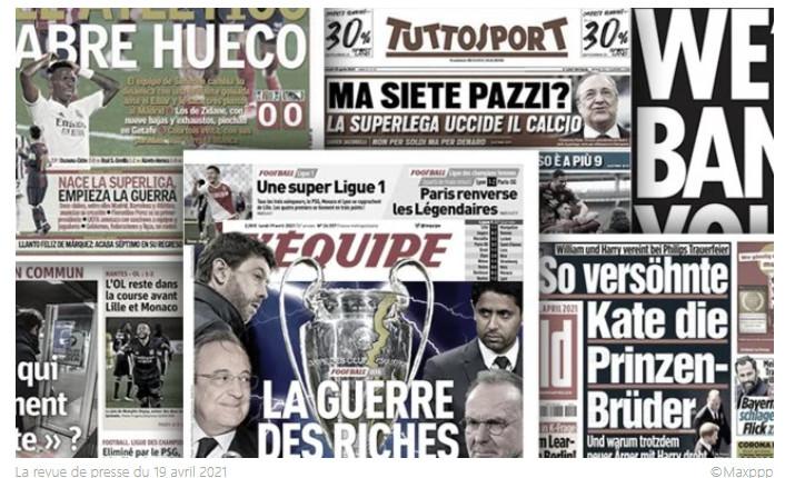 La presse européenne part en guerre contre le projet de Super League