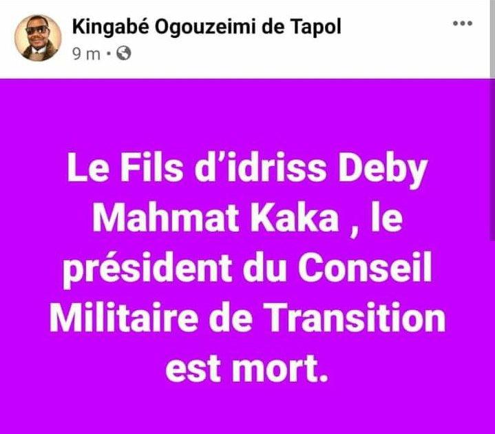 Le directeur de la Communication du FACT annonce la mort du fils d'Idriss Deby