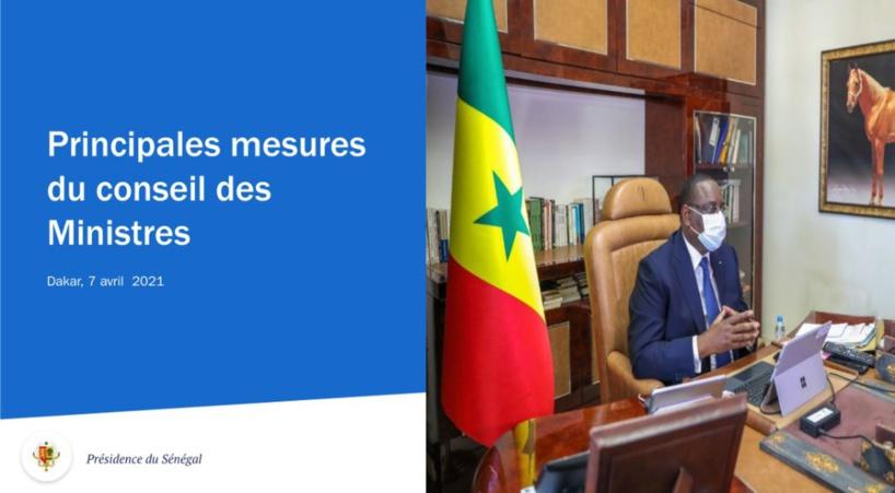 Voici le communiqué du conseil des ministres du mercredi 21 avril 2021