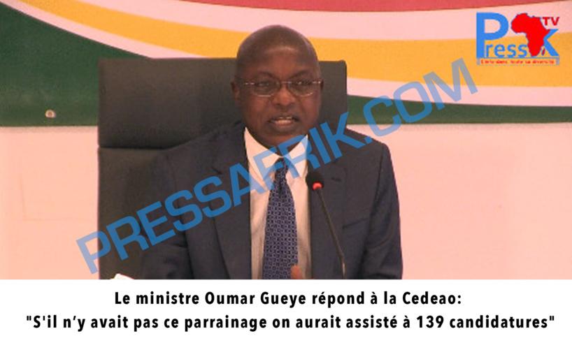 """Le ministre Oumar Gueye répond à la Cedeao: """"S'il n'y avait pas ce parrainage on aurait assisté à 139 candidatures"""""""