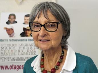 Françoise Larribe, ancienne otage et épouse de Daniel Larribe, qui est retenu par Aqmi depuis son enlèvement le 16 septembre 2010 à Arlit, au Niger, de même que trois autres français. AFP PHOTO / BORIS HORVAT