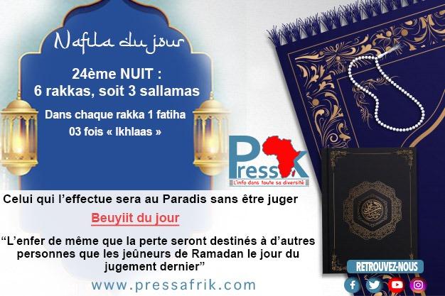 """Ramadan-Nafila de la 24ème NUIT : 6 rakkas pour """"être au Paradis sans être juge"""""""