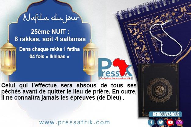 """Ramadan-Nafila de la 25 ème NUIT : 8 rakkas pour être """"absous de tous ses péchés avant de quitter le lieu de prière"""""""