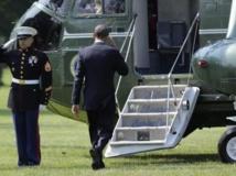 Le président Obama quitte la Maison Blanche en hélicoptère, le 12 juin 2013.