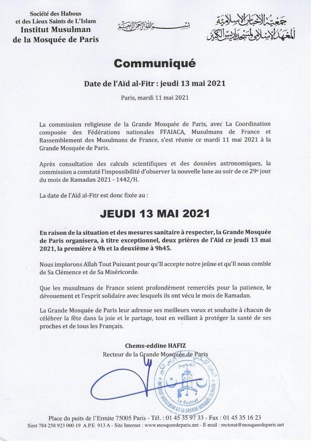 La France va célébrer l'Eid El Fitr jeudi (communiqué)