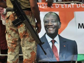 Duékué, le 23 avril 2012. Le président Alassane Ouattara est arrivé au pouvoir à l'issue d'une élection qui a été suivie d'une grave crise post-électorale.