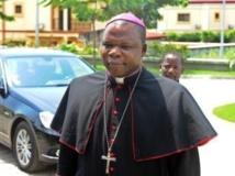 L'archevêque Dieudonné Nzapalainga, le 8 janvier 2013. AFP PHOTO / STEVE JORDAN