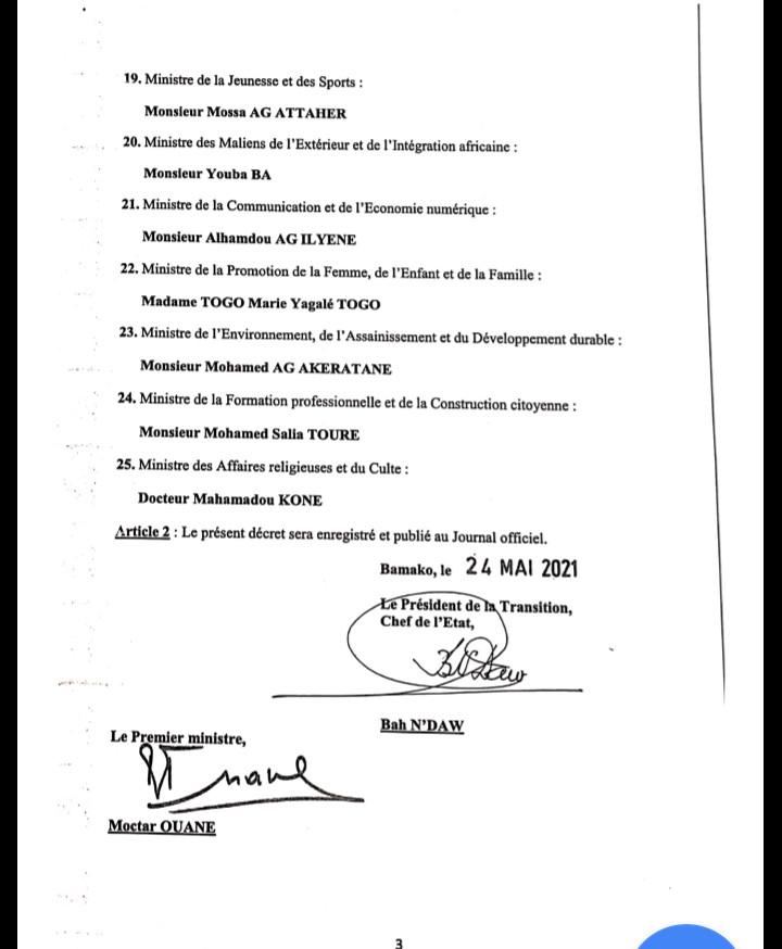 Mali: formation d'un nouveau gouvernement composé de 25 ministres