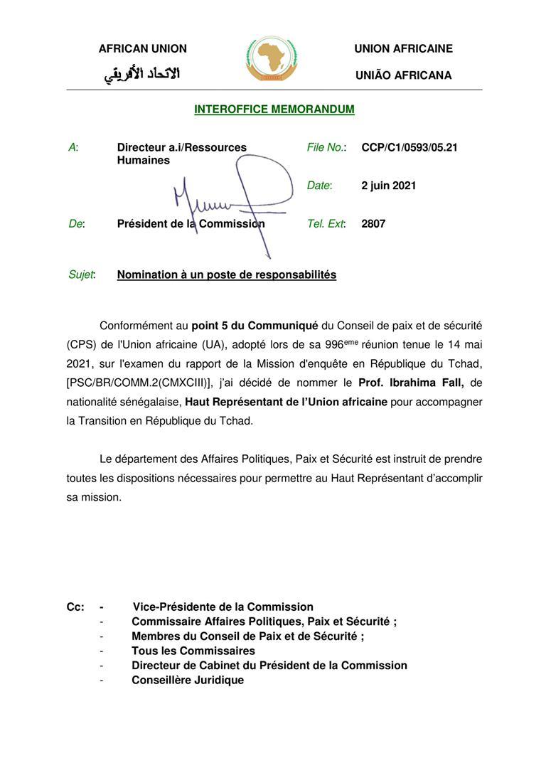 Transition en République du Tchad : Pr Ibrahima Fall nommé Haut représentant de l'Union africaine