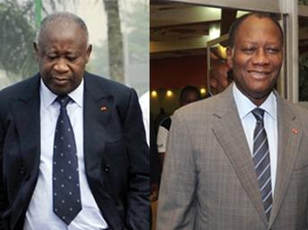 Laurent Gbagbo (g) et Alassane Ouattara (d).