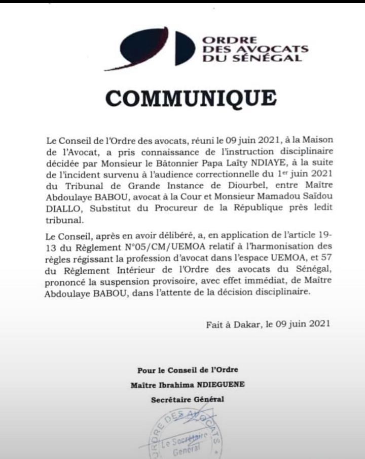 Incident au tribunal de Diourbel : l'Ordre des avocats prononce la suspension provisoire de Me Babou
