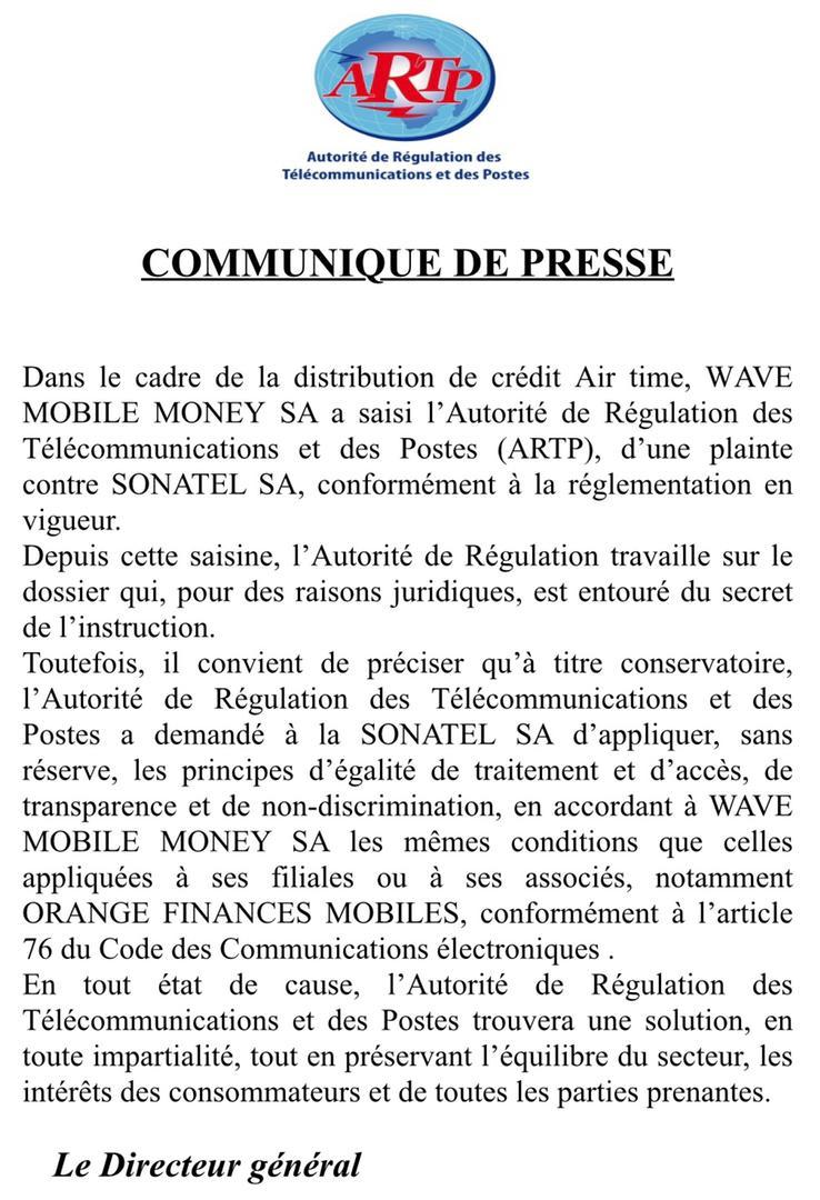 Achat crédit: l'ARTP demande à la Sonatel d'accorder à Wave les mêmes conditions qu'à ses filiales et associés