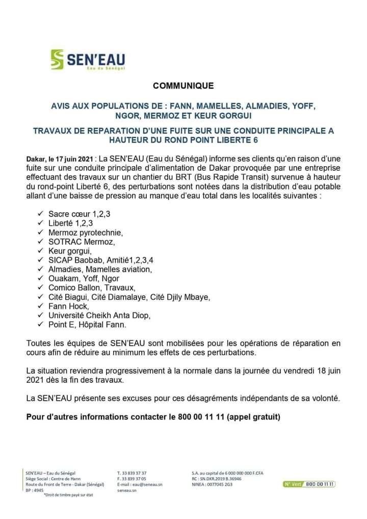 Distribution d'eau potable: Sen'Eau annonce des perturbations dans plusieurs quartiers de Dakar