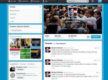 Même s'il est le plus suivi, Barack Obama est loin d'être le plus connecté des présidents. Capture d'écran Twitter.com