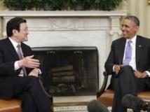 Le président vietnamien Truong Tan Sang a été reçu à la Maison Blanche par Barack Obama, le jeudi 25 juillet 2013. REUTERS/Yuri Gripas