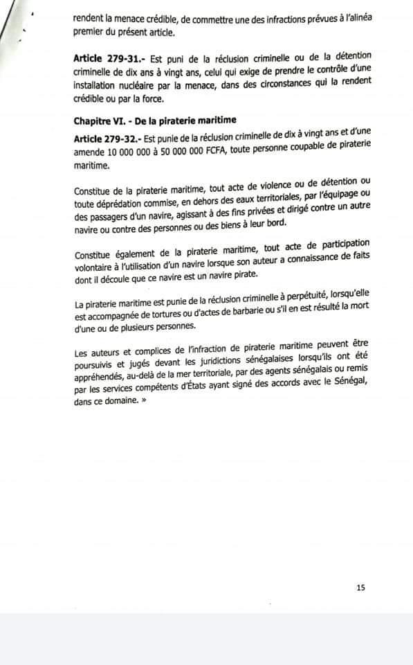 Modification du code pénal : voici le contenu du projet de loi (documents)