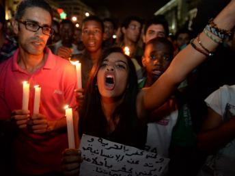Plus de 2000 personnes ont manifesté ce mardi 6 août à Casablanca, appelant à plus de justice. AFP PHOTO / FADEL SENNA