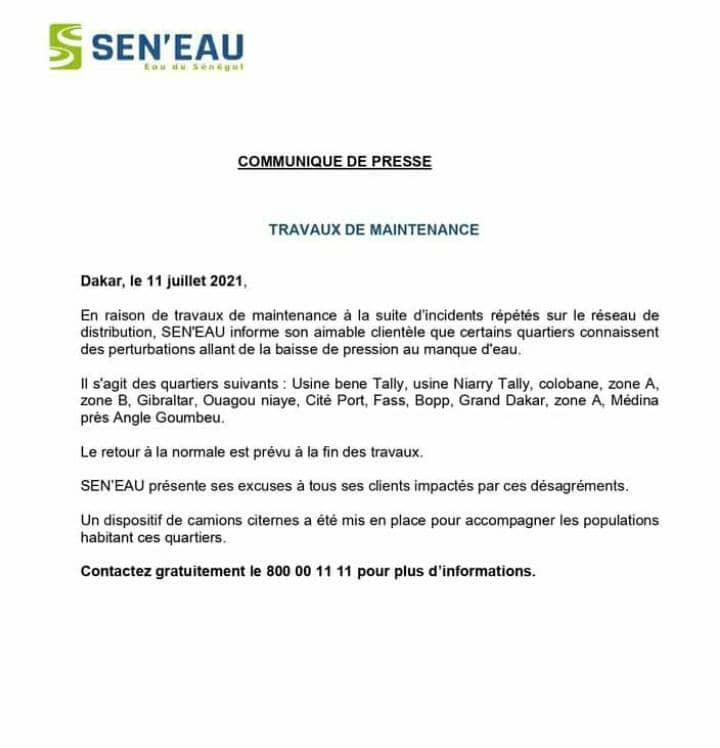 Sen'Eau annonce des perturbations dans la fourniture de l'eau à Dakar