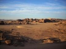 Le désert de Tamanrasset, au sud de l'Algérie, région frontalière avec le Niger et le Mali. Photo : Str /AFP