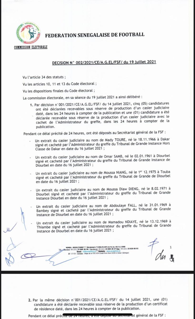 Présidence fédération de football sénégalais : 5 candidatures déclarées recevables (Document)