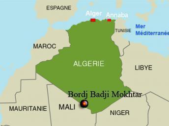 Bordj Badji Mokhtar, située au sud-ouest de l'Algérie est au milieu du désert. RFI/Carte