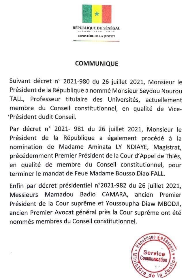 Conseil constitutionnel: Macky nomme 3 nouveaux sages dont Mamadou Badio Camara