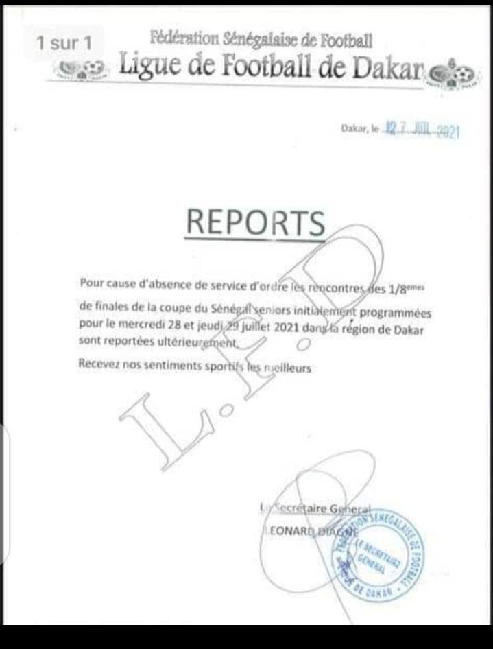 Coupe du Sénégal: report des 8émes de finale par manque de service d'ordre