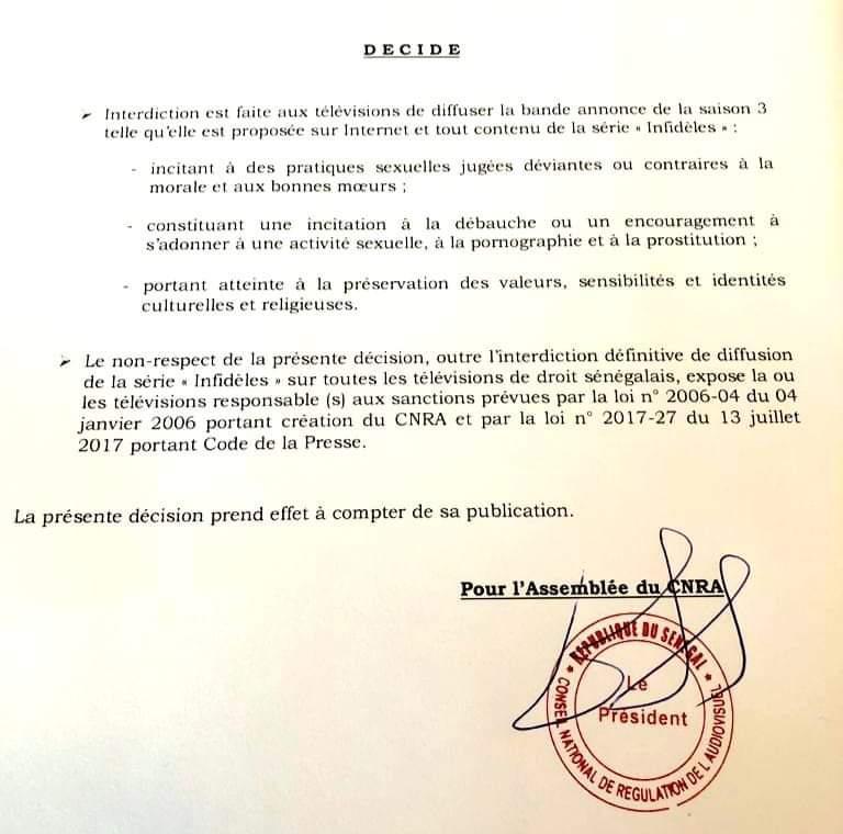 """Le Cnra """"censure"""" la saison 3 de la série Infidèles, après une plainte de Jamra"""