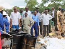 Le ministre du Pétrole (chemise rayée et lunette de soleil) et son collègue de l'Environnement (complet gris) constatent les dégâts. RFI / Madjiasra Nako