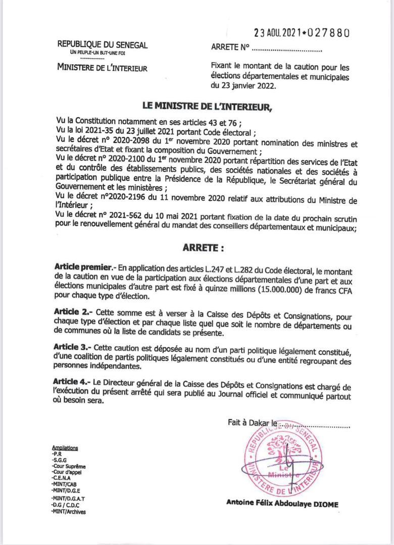 Élections locales : le montant de la caution fixé à 15 millions FCFA