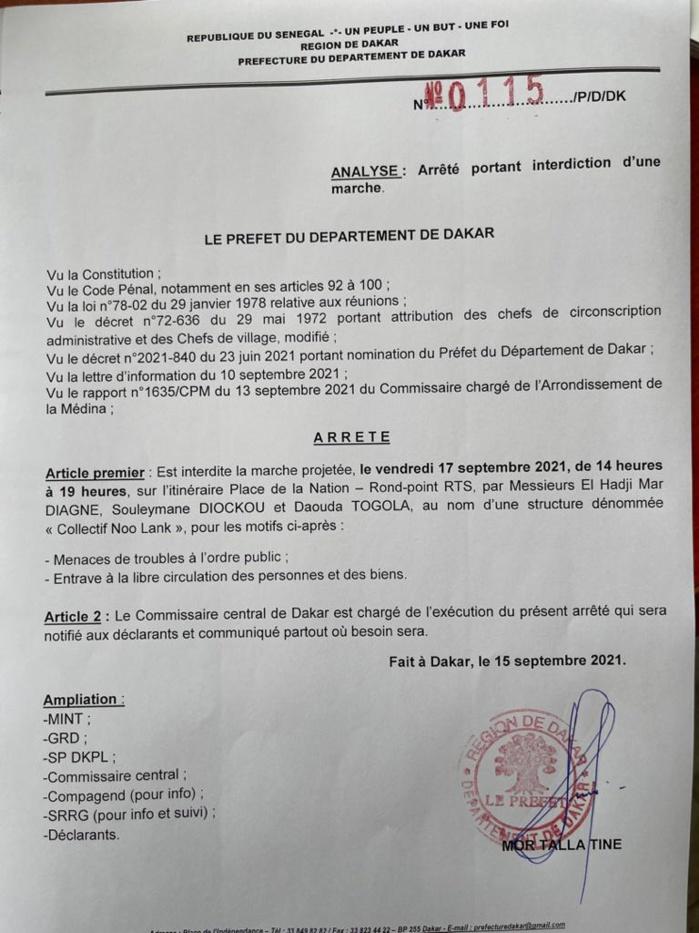La manifestation contre la cherté de la vie encore interdite par le préfet de Dakar