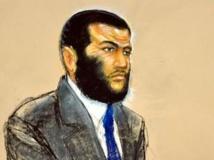 Dessin d'Omar Khadr, originaire de Toronto au Canada écoutant la sentence de son jugement à la base navale de Guantanamo à Cuba, le 26 octobre 2010. Janet Hamlin / Reuters