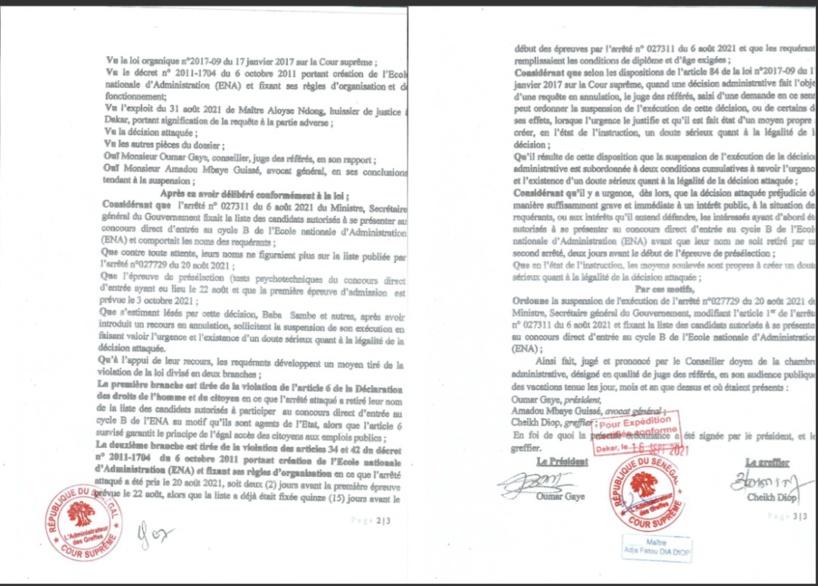 Exclusion de candidats : la Cour Suprême ordonne la suspension du Concours de l'Ena 2021