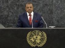 Nicolas Tiangaye, le Premier ministre centrafricain, à la tribune de l'ONU, le 26 septembre 2013. REUTERS/Justin Lane