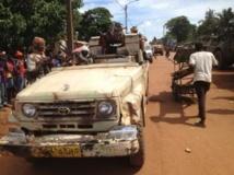 Des militaires du contingent tchadien de la Fomac en patrouille dans les rues de Bangui pour désarmer les ex-rebelles de la Seleka. L.Correau/RFI